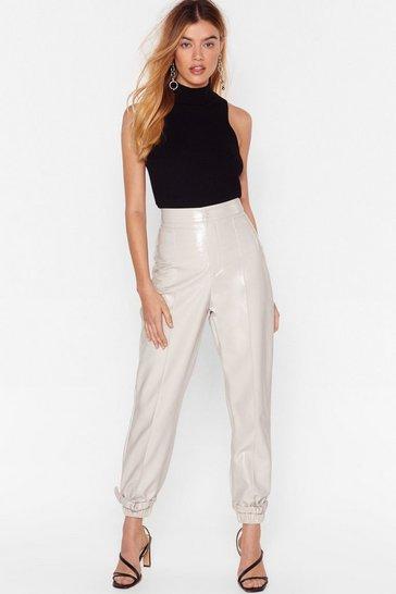 Off white Feeling Vinyl High-Waisted Buckle Pants