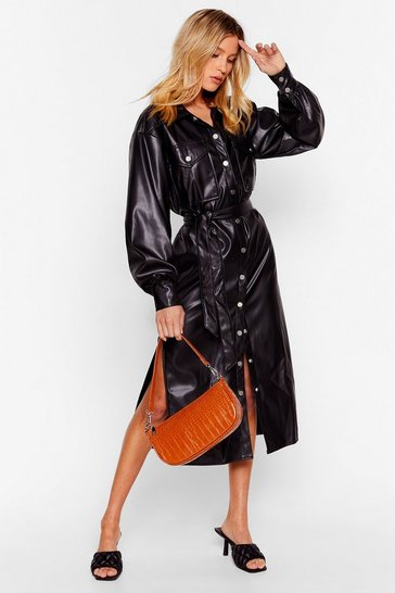 Black Another Won't Shirt Faux Leather Midi Dress