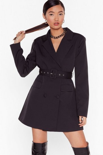 Black Boss Up Belted Blazer Dress
