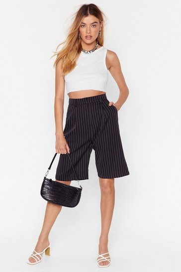 Black Unfinished Business Pinstripe Longline Shorts