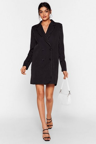 Black Stripe on Time Mini Blazer Dress