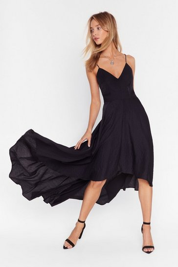 Black Lace-Up Maxi Dress with Cami Straps