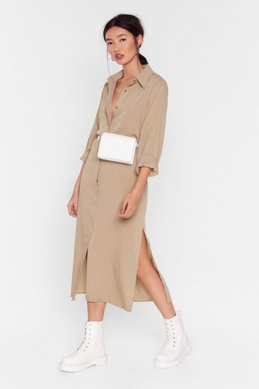 Stone Belted Side Split Midi Shirt Dress