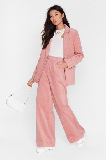 Rose We're So Cord-uroy Tailored Wide-Leg Trousers
