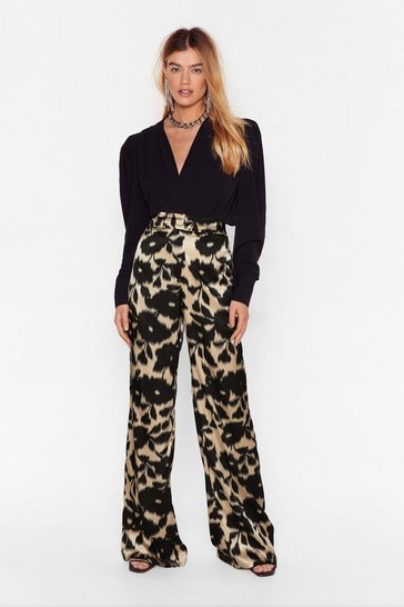 Black Plant Pretend Floral Wide-Leg Pants