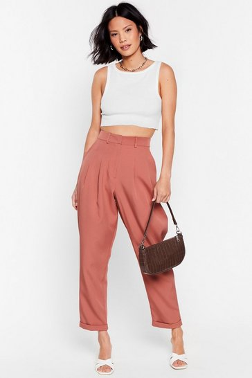 Camel High-Waisted Tapered Pants with Pleats at Front