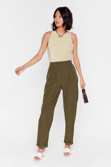 Khaki High-Waisted Tapered Pants with Pleats at Front