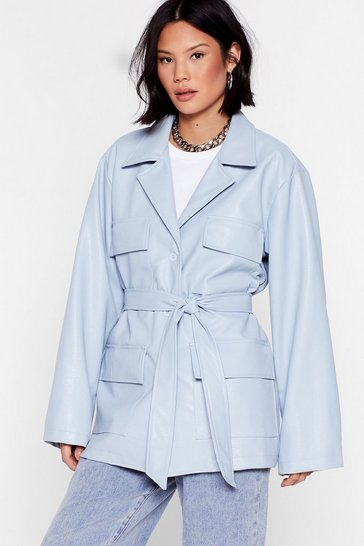 Baby blue Play the Hand You're Belt Faux Leather Jacket