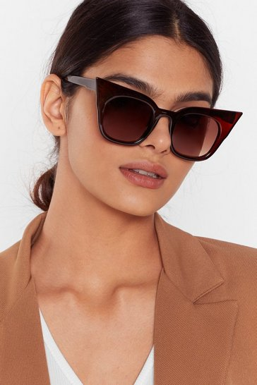 Brown We See Your Point Tinted Cat-Eye Sunglasses