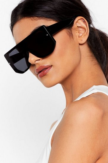 Black Tinted Chunky Temple Aviator Sunglasses