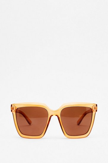 Brown Edge of Reason Oversized Square Sunglasses