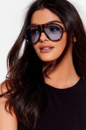 Brown Tort Hard Rounded Aviator Sunglasses