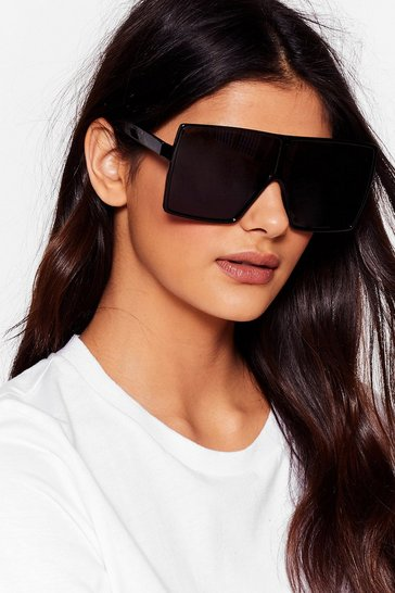 Black Statement Square Oversized Sunglasses