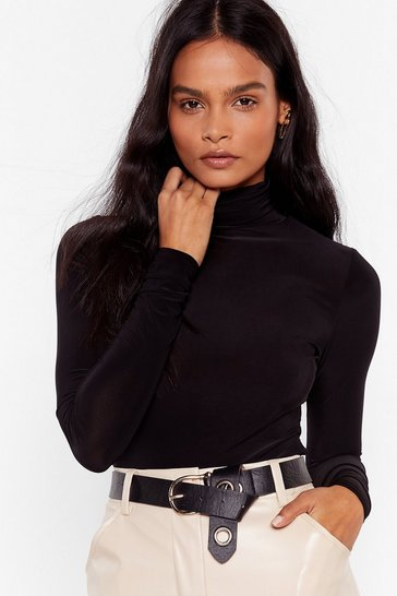 Black High Maintenance Turtleneck Slinky Top