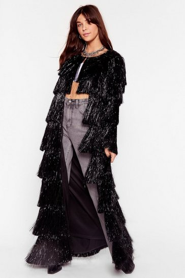 Black Party Crasher Fringe Longline Jacket