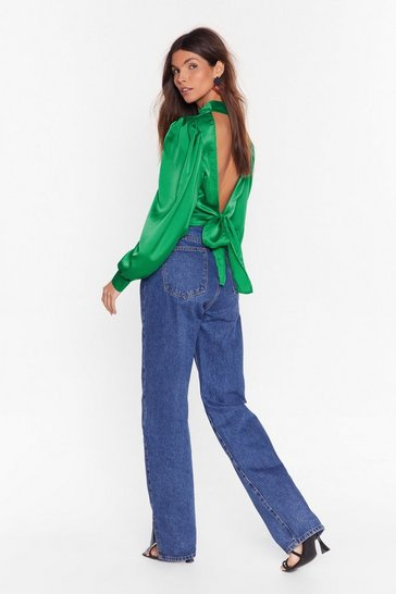 Green Welcoming With Open Arms Satin Open Back Blouse
