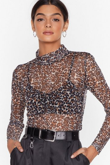 Brown High Neck on the Agenda Leopard Mesh Top