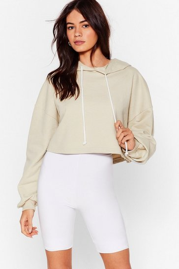 Sand Ease the Day Oversized Cropped Hoodie