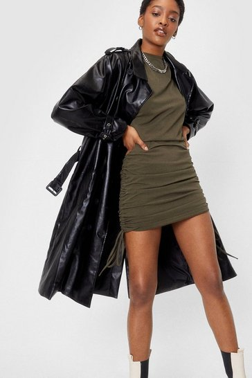 Black Faux Leather Belted Longline Trench Coat