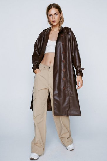 Brown You Faux Leather Know Belted Trench Coat