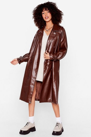 Brown Faux Leather Belted Longline Trench Coat
