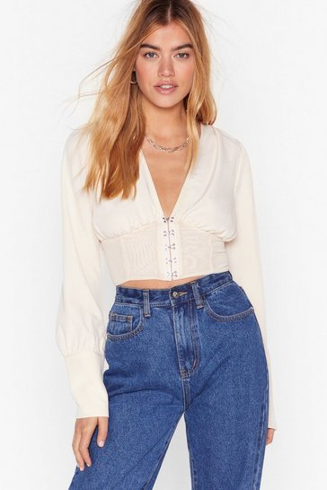 Cream Hook and Eye Wanna See You Mesh Blouse