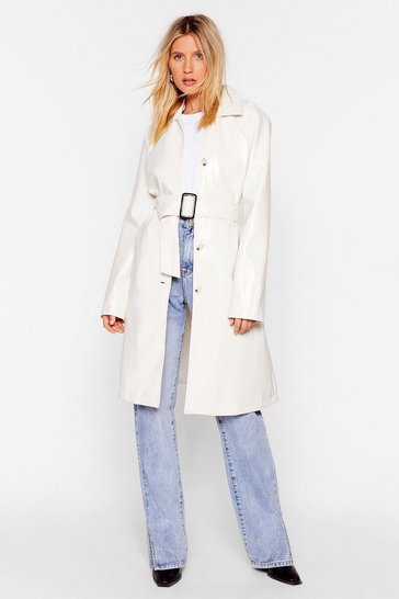 White Belted Trench Coat with Square Buckle Closure