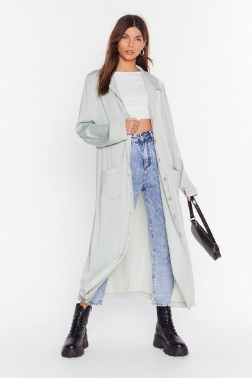 Trench long en satin Tu es un vrai boute-en-trench, Sage