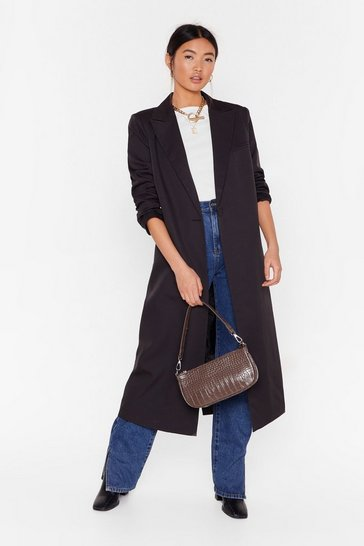 Black I'll Get to Work Relaxed Longline Blazer