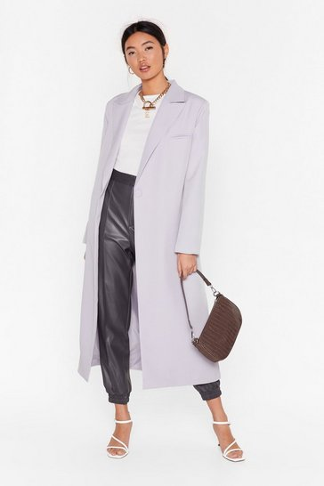 Womens Grey I'll Get to Work Relaxed Longline Blazer