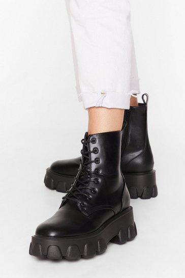 Black Cleated Platform Faux Leather Boots