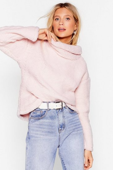 Pink True or Faux Shearling Cowl Neck Sweater