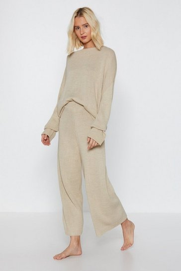 Oatmeal You've Met Your Match Knitted Lounge Set