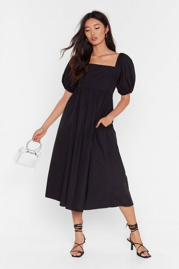 Black Who Square's Who Wins Puff Sleeve Midi Dress