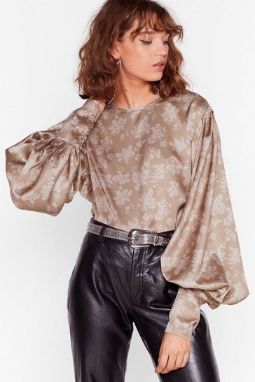 Taupe Sleeve Get Out Floral Blouse