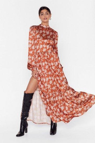 Turmeric Flower Grown Wild High Neck Maxi Dress
