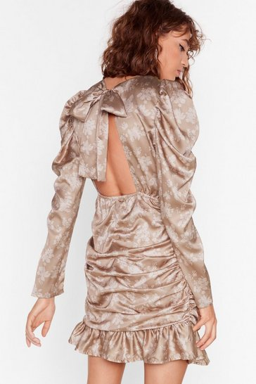 Taupe Way to Grow Floral Mini Dress
