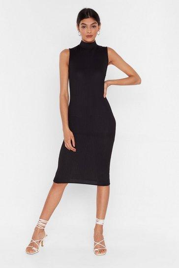 Black High Hopes Ribbed Midi Dress