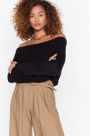 Oatmeal Knit's My Way Off-the-Shoulder Sweater