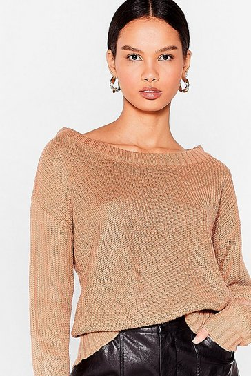 Tan Knit's My Way Slouchy Sweater