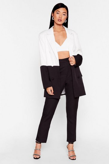 Don'T Wanna Go Monochrome Oversized Blazer