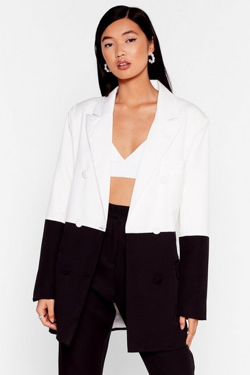 Black Don't Wanna Go Monochrome Oversized Blazer