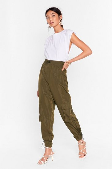 Womens Khaki Cargo Back There High-Waisted Drawstring Pants