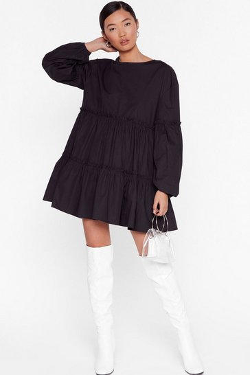 Black State of Smock Relaxed Mini Dress