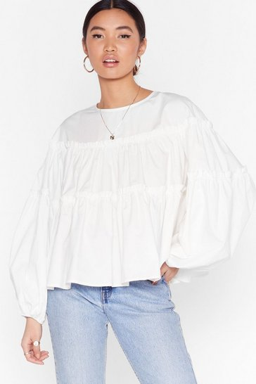 White You Need to Sleeve Tiered Ruffle Blouse