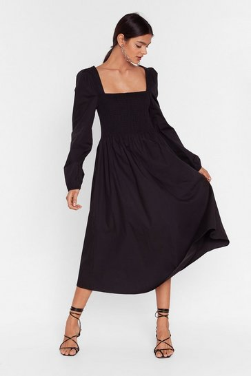 Did You Just Smock Me Relaxed Maxi Dress, Black