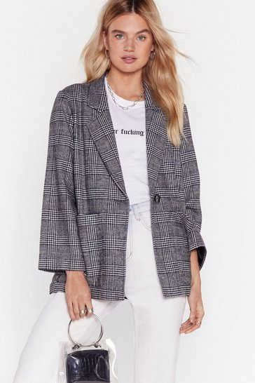 Grey One Check of a Day Longline Blazer