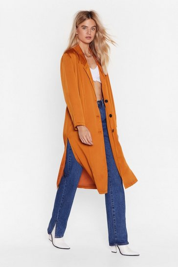 Womens Orange Actions Sleek Louder Than Words Duster Jacket