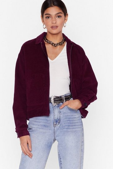 Maroon Smash the Record-uroy Zip Jacket