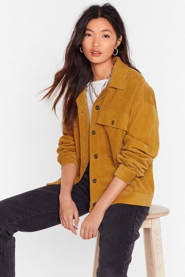 Womens Mustard At the Record-uroy Store Relaxed Shirt Jacket